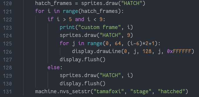 code that draws lines over hatching frame 9, instead of displaying frames 6, 7 and 8